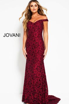 1b3d0ab9e1f3 This Jovani 53208 burgundy evening gown features a column silhouette in  beaded floral lace, with