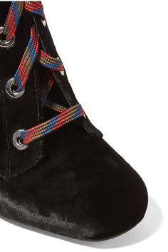 Prada - Lace-up Velvet Wedge Knee Boots - SALE20 at Checkout for an extra 20% off