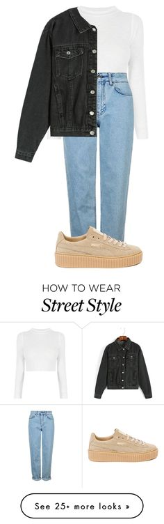"""Street style"" by searbearmendes on Polyvore featuring Topshop, Puma, StreetStyle and denim"