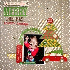 Process Video: Layered Paper Christmas Tree Video Tutorial Scrapbook Layout by Heather Leopard #scrapbooking #scrapbook Gossamer Blue #gossamerblue #Christmastreetutorial #Christmas #tutorial #scrapbooktutorial #processvideo