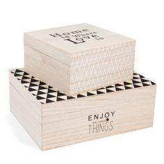 2 boîtes en bois MYLES   Maisons du Monde
