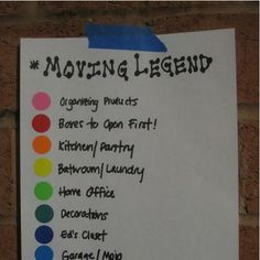 """Moving, new house organizing, selling on MOVING DAY! I color-coded all of our moving boxes (with color-coded dot stickers) and today I'll hang my """"Color-Coded Moving Legend"""" by the front door (not the prettiest but … Moving House Tips, Moving Home, Moving Day, Moving Tips, Moving Hacks, Moving Checklist, Easy Ways To Pack For Moving, Moving Stress, Travel Checklist"""