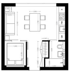 Add tiny mobile island, eliminate table, place couch approx where table is, entertainment & storage where their couch is. Barn House Plans, Tiny House Plans, Cabin Plans, House Floor Plans, Granny Pods, Manhattan House, Architectural Floor Plans, Backyard Cottage, Compact House