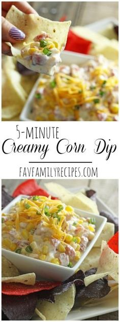 This creamy corn dip whips up in no time at all. A great last-minute potluck dip that will have everyone begging you for the recipe! The perfect dip for tortilla chips. via @favfamilyrecipz