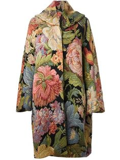 GIANLUCA GABRIELLI VINTAGE - floral embroidered maxi coat