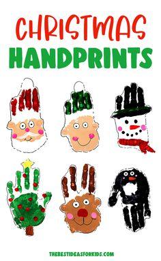 Christmas Handprint Art - make these adorable Christmas handprints! Perfect for keepsakes or gifts! A fun kindergarten or preschool Christmas craft too!