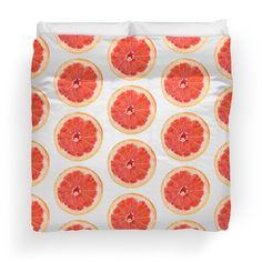'Grapefruit Slice Pattern' Duvet Cover by houseofenigma College Dorm Bedding, Duvet Bedding, Duvet Insert, Grapefruit, Duvet Covers, Blanket, Pillows, Sweet, Pattern