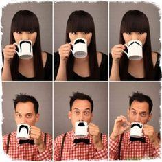 Cuidado cuando tomes tu Café...te podrá salir bigote!  Lo último en tendencia. Moustache mugs de Found Home Store.