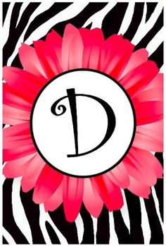 "*** D iz for Denalia . Pink Daisy, Zebra Stripe Monogram D Appliqued Double-Sided Garden Flag 12""x18"" ."