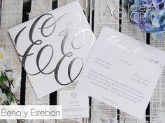Invitaciones de boda en blanco y plata impresas en hotstamping / white and silver wedding invitations