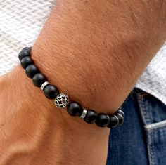 Men's Gemstone Bracelet, Matt Black Onyx, Hematite, Sterling Silver Bracelet, Man Mala, Yoga jewelry, Protection, Meditation Bracelet