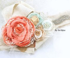 Bridal Sash - Wedding Sash in Coral, Blush, Mint, Ivory, Tan and Gold with Lace, Burlap, Pearls and Jewels- Shabby Chic