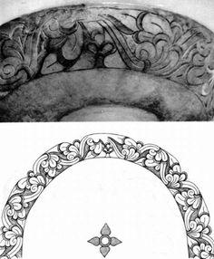 The palmette decoration on the silver cup from Kétpó Fodor István, Verecke híres útján ... A magyar nép őstörténete és a honfoglalás. Gondolat, Budapest, 1975, apge 263., Pictures No 72a-b. Attila Bánó's drawing. Damjanich János Múzeum, Szolnok.
