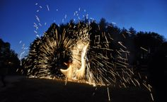 Steel wool / Sparkle poi cages by ForgedCreations on Etsy, $24.99  This is awesome!