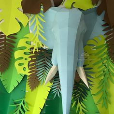 Jungle Party Decorations, Baby Shower Decorations, Paper Flower Backdrop, Paper Flowers, Elephant Nursery, Elephant Baby, Dessert Table Birthday, Paper Flower Patterns, Tropical Party
