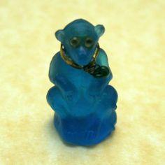 RARE Antique Czech Glass Blue Monkey Charm