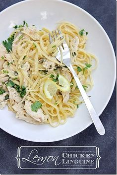 Lemon Chicken Linguine Recipe. I'm not huge into pasta, but this recipe looks so good!