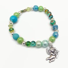 Turquoise and Green Elasticated Bracelet  £4.00