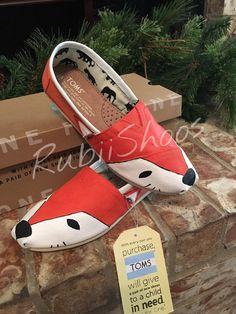 RubiiShoos Original Red Fox  Hand Painted Shoes  by RubiiShoos