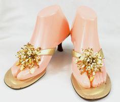 Talbots Shoes Womens Size 7 B Gold Slide On Kitten Heels #Talbots #KittenHeels