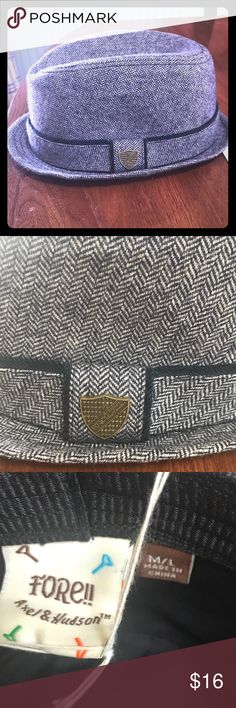 Fore! Axel & Hudson Navy Tweed Fedora SZ M/L 4-6X Navy Tweed Fedora Size M/ L which is approximately 4-6X . New With Tags . High End Brand Fore !! Axel & Hudson . Excellent Quality!! Fore! Axel & Hudson Accessories Hats