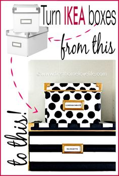 Kate Spade inspired storage boxes to hide away all of those loose office items