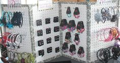 """Here are a few ides and things I use for my business!  Displays  This display is made by using four pieces of peg board. Each measured 14"""" b..."""