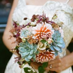 Bouquet idea... Peach, bronze, a kind of funny blue, and green.