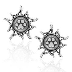 STERLING SILVER YOU LIGHT UP MY LIFE SUN DOG PAW PRINT POST EARRINGS