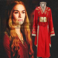 Pas cher Game of Thrones Reine Cersei Lannister Rouge De Luxe Robe Adulte Femmes Médiévale Cosplay Costume Pour Halloween Custom Made, Acheter  Habits de qualité directement des fournisseurs de Chine:Game of Thrones Reine Cersei Lannister Rouge De Luxe Robe Adulte Femmes Médiévale Cosplay Costume Pour Halloween Custom