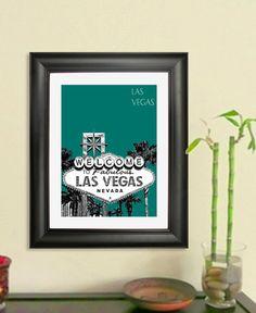 Las Vegas Skyline Print - Las Vegas Sign City Skyline Poster -  Art Print , 8x10 - Choose your color on Etsy, $20.00