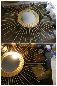 海外のインテリア雑誌でよく見かけるサンバーストミラー。太陽の光をイメージさせる形はどんな部屋も、スタイリッシュにしてくれますが、日本ではなかなか大きなものは見つけられません。DIYなら大きなものでも作れちゃいます!