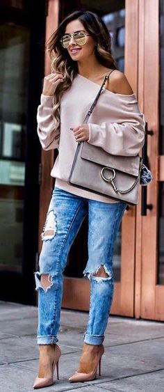 #fall #outfits women's beige off-shoulder long-sleeve shirt