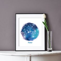 This printable zodiac art is an affordable way to add stars to any home decor. Just download and print.  #taurus #zodiacart #constellations #affordableart #easyhomedecor #madeincanada Zodiac Art, Zodiac Signs, Taurus Star Sign, Taurus Birthday, Rgb Color Space, Printable Art, Printables, Mermaid Invitations, Holiday Gift Tags