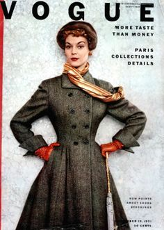 """Jean Patchett in grey wool chevron tweed princess coat by Handmacher, cover photo by Horst, Vogue, September 15, 1951 so it seems vogue had a """"more taste than money"""" thing going for a while as this is the third time i've seen it on a cover from the 50s. can you imagine!? so unlike today's vogue."""