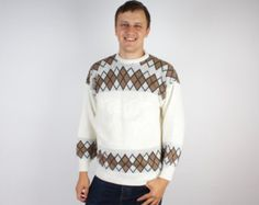 White Mens Sweater Jumper Brown Winter Clothing Warm Pullover Large Size