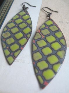 Textured Enamel Earrings. $50.00, via Etsy.