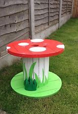 Garden Ornaments / Mushroom / Table / Upcycled Cable Reel /Drum in Cable Reel Table, Wooden Cable Reel, Wire Spool Tables, Cable Spool Tables, Cable Spools, Wooden Garden Ornaments, Mushroom Paint, Wire Reel, Spool Crafts