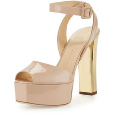 Giuseppe Zanotti Lavinia Patent Platform Sandal ($795) ❤ liked on Polyvore featuring shoes, sandals, blush, d orsay sandals, adjustable sandals, open toe sandals, ankle tie sandals and golden sandals