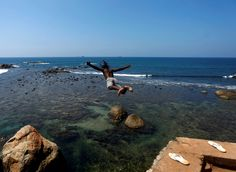 A man jumps into the sea from the top of the Galle Dutch fort in Galle, Sri Lanka February (Photo by Dinuka Liyanawatte/Reuters) Image Of The Day, Us Images, Cool Photos, Amazing Photos, Sri Lanka, Live Life, Bald Eagle, Beautiful Places, Amazing Places