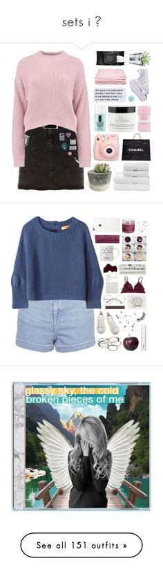 """""""sets i ♡"""" by snickerfilled ❤ liked on Polyvore featuring River Island, Temperley London, Boohoo, adidas, abcDNA, Christy, philosophy, Chanel, Clinique and Fujifilm"""