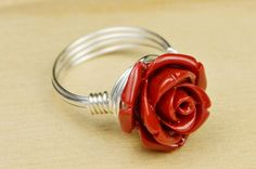 Red Rose Ring Sterling Silver Filled Wire by SimplyCharmed21, $14.00