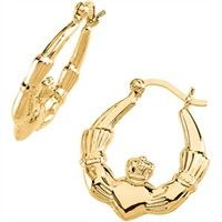 14k Gold Claddagh Earrings Hoop