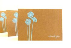 Embossed Kraft Thank You Cards (Set of 5) - Thank You Card Set - Greeting Cards. $8.00, via Etsy.