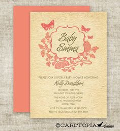 Rustic GIRL BABY SHOWER Invitations Embossed Look Vintage Rose Butterfly Digital diy Printable Personalized Pink and Green - 93005397. $13.50, via Etsy.