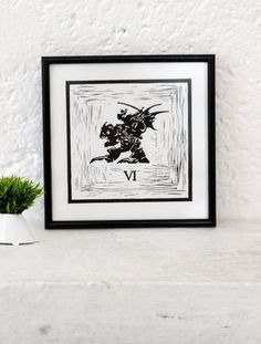 Final Fantasy VI inspired Minimalist Mexican rustic art print || Linoleoum Etching