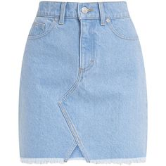 Hanele Light Wash Fray Hem Denim Mini Skirt ($35) ❤ liked on Polyvore featuring skirts, mini skirts, blue denim mini skirt, short denim skirts, blue mini skirt, blue skirt and short skirts