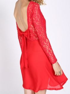 Backless Red Lace Back Bow Long Sleeve Dress