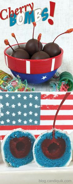 Cherry {Cake} Bombs two ways! So cute for Memorial Day or 4th of July!