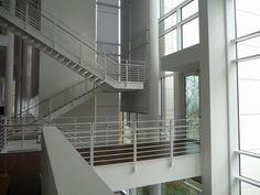 Arp Museum Bahnhof Rolandseck (richard meier) Arp Museum, Richard Meier, Stair Detail, Contemporary Architecture, Architects, Stairs, Interiors, Steel, Interior Design